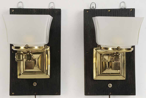 Pair Brass Electrified Wall Sconces
