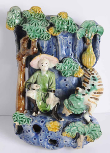 Chinese Glazed Ceramic Figural Group Wall Pocket