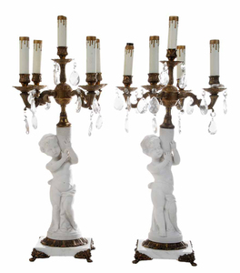 Pair Bisque Five-Light Candelabra Converted to Lamps