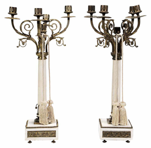 Pair Empire Style Carved White Marble Five-Light Candelabrum with Bronze Mounts