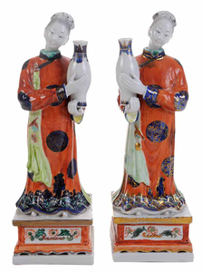Pair Painted Porcelain Figures as Bud Vases