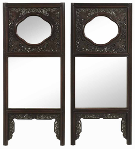 Pair Chinese Carved Hardwood Mirrored Panels