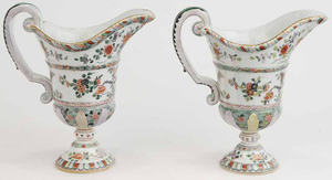 Pair Large Samson Footed Flagons with Famille Verte Glazes