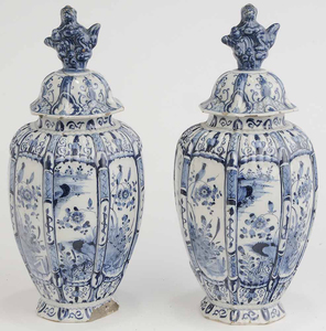 Pair Delft Covered Urns