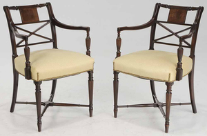 Pair Regency Style Arm Chairs