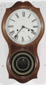Mahogany Wall Clock Signed Daekor