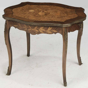 Louis XV Style Marquetry-Inlaid Low Table