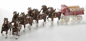 Metlox Budweiser Beer Wagon with Eight Clydesdales