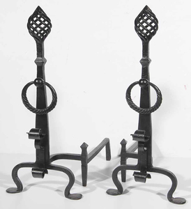 Large Pair Black-Painted Wrought Iron Andirons