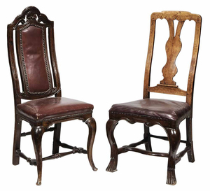 Two Queen Anne Leather Upholstered Side Chairs