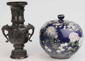 Cloisonne Jar and Japanese Bronze Vase