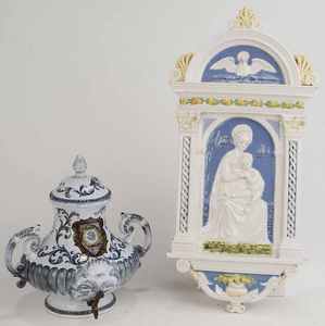 Majolica Plaque and Water Dispenser