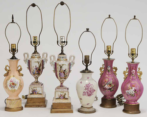 Group of Six Porcelain Table Lamps