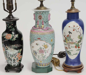 Group Six Porcelain and Glass Lamps