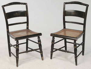 Pair Hitchock Cane Seat Chairs
