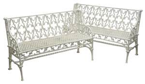 Pair Gothic Revival Cast Iron Garden Benches