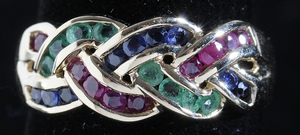 14kt. Ruby, Sapphire & Emerald Ring
