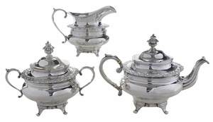 Three Piece New York Coin Silver Tea Service