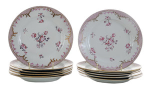 Twelve Chinese Export Famille Rose Dinner Plates