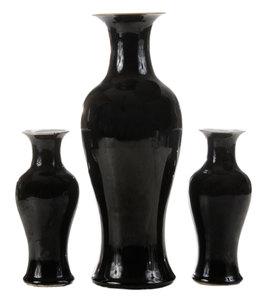 Three Chinese Black Glazed Vases