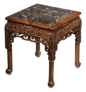 Chinese Carved  Hardwood and Marble-Inset Taboret