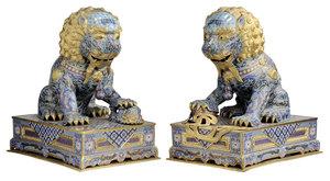 Two Monumental Gilt Bronze Cloisonné Foo Dog Guardian Figures