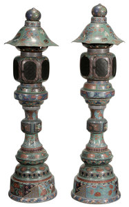 Large Pair Cloisonné Garden Lanterns
