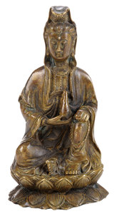 Ming or Ming Style Bronze Seated Quanyin