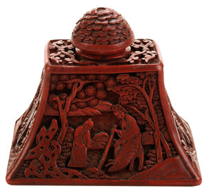 Carved Cinnabar Pyramid-Form Ink Stand