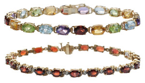 Two Gold and Gemstone Bracelets