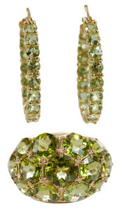 14kt. Gold and Peridot Ring and Earrings