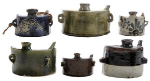 Collection of Six Okinawan [Dachiban] or Hip Flasks