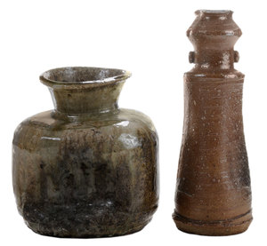 Two [Iga] and [Shigaraki] Stoneware Vases for [Chabana] Flowers for Tea Ceremony