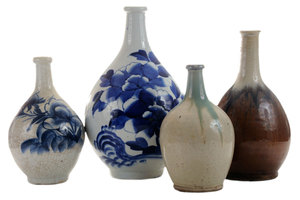 Four Old [Mingei Tokkuri] Sake Flasks