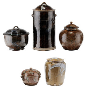 Five Covered Stoneware Jars