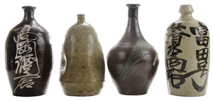 Four Old [Mingei Tamba] and Seto [Tokkuri] Sake Flasks