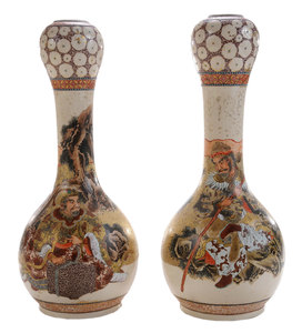 Pair of Unusually-Decorated Garlic Head Satsuma Vases