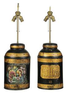 Two Similar Toleware Canister Lamps