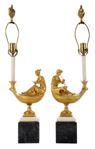 Pair Empire Gilt Bronze and Marble Figural Candlesticks Converted to Lamps