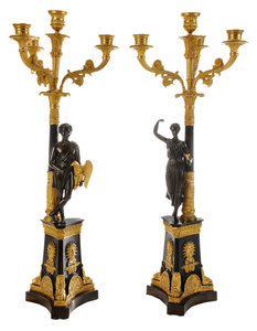 Pair Empire Style Gilt and Patinated Bronze Four-Light Candelabrum
