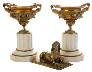 Pair Empire Gilt Bronze and Marble Urns, Bronze Figure of a Sphinx