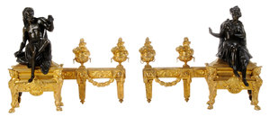 Pair Louis XV Style Patinated and Gilt Bronze Chenets*