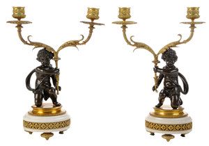 Pair Patinated Bronze Putti Figural Candle Holders