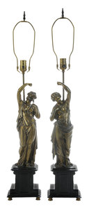 Pair Patinated Bronze Figures of Young Maidens on a Marble Base, Converted to a Lamp