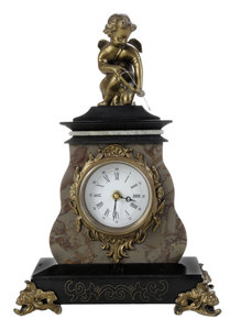 Empire Style Carved Marble Putto Figural Mantle Clock