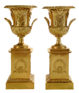 Pair Gilt Bronze Neoclassical Style Urns on Pedestals