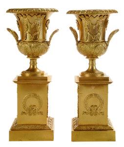 Pair Gilt Bronze Neoclassical Style Urns on Pedestals