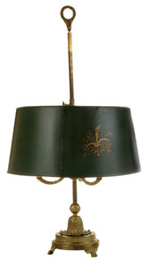 Louis XVI Gilt Bronze Three-Light Style Bouillotte Lamp with Tole Shade