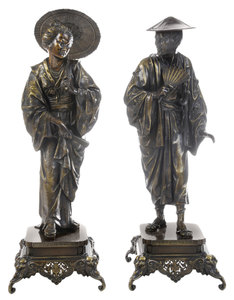 Pair Monumental Bronze Figures of a Japanese Man and Woman