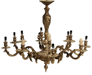 Regency Style Gilt Metal Nine-Light Chandelier